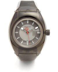 Gucci - Sync Black Rubber Watch - Lyst