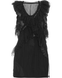 Roberto Cavalli - Sleeveless Ruffled Silk Chiffon Top - Lyst