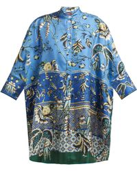 F.R.S For Restless Sleepers - Noto Floral Print Silk Tunic Dress - Lyst