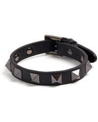 Valentino - Rockstud-embellished Leather Bracelet - Lyst