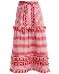 Dodo Bar Or - Gael Tassel-trimmed Striped Cotton Midi Skirt - Lyst