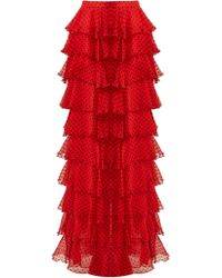 Rodarte - High Rise Tiered Silk Chiffon Skirt - Lyst