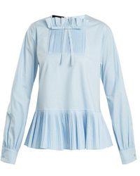 Rochas - Pleated Balloon-sleeve Cotton-blend Blouse - Lyst