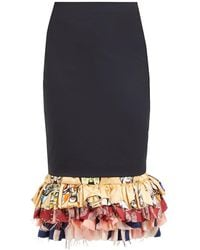 Marine Serre - Tailored Fishtail Upcycled Midi Skirt - Lyst