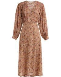 MASSCOB - Blaise Floral-print Silk Midi Dress - Lyst