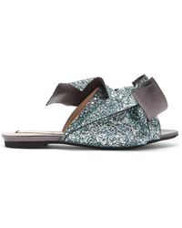 N°21 | Bow-front Glittered-leather Slides | Lyst