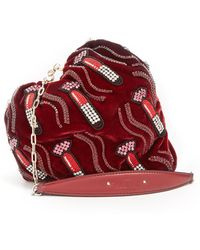 Valentino - Carry Secrets Bead-embellished Heart Velvet Clutch - Lyst