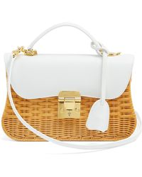 Mark Cross - Dorothy Wicker And Leather Shoulder Bag - Lyst
