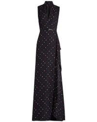 Elie Saab - V-neck Polka-dot Print Silk-georgette Gown - Lyst