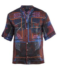 Meng - Floral-print Short-sleeved Silk Pyjama Shirt - Lyst