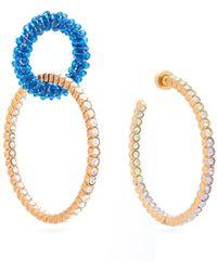 Jacquemus Les Creoles Conca Mismatched Crystal Earrings - Blue