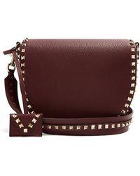 Valentino - - Rockstud Saddle Leather Shoulder Bag - Womens - Burgundy - Lyst