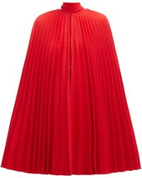 Valentino Pleated Virgin Wool Cape