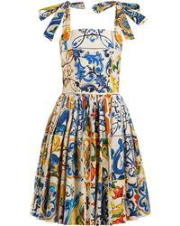 Dolce & Gabbana - Majolica Print Cotton Poplin Mini Dress - Lyst