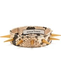 Marques'Almeida - Spiked Snakeskin Effect Leather Choker - Lyst