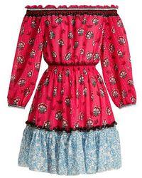 Mary Katrantzou - Piquet Off-the-shoulder Fil Coupé Mini Dress - Lyst