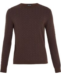 Giorgio Armani - Geometric-intarsia Crew-neck Sweater - Lyst
