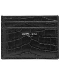 Saint Laurent - - Crocodile Effect Leather Cardholder - Mens - Black - Lyst