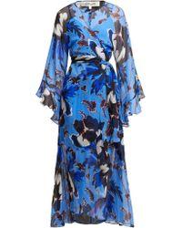 Diane von Furstenberg Lizella Floral Print Silk Dress - Blue