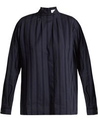 Chimala - Leno High Neck Lace Insert Cotton Blouse - Lyst