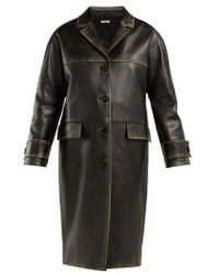 Miu Miu - Long Distressed-leather Coat - Lyst