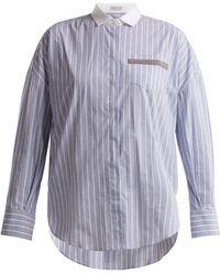 Brunello Cucinelli - Embellished-pocket Striped Cotton-blend Shirt - Lyst
