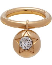 Burberry - Daisy And Crystal Embellished Double Ring - Lyst
