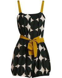 Adriana Degreas - Cacao Polka-dot Print Silk Playsuit - Lyst