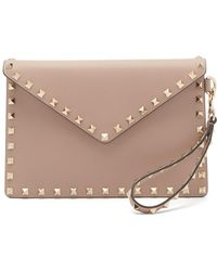Valentino - Rockstud Leather Envelope Clutch - Lyst