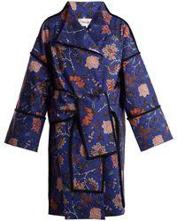 Diane von Furstenberg - Canton Floral-print Tie-waist Cotton-blend Coat - Lyst