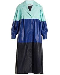 Vika Gazinskaya - Pleated Colour-block Faux-leather Coat - Lyst