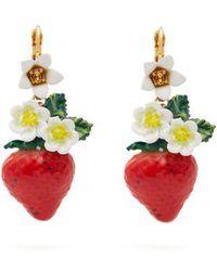 Dolce & Gabbana - Strawberry Drop Earrings - Lyst