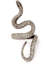 Lynn Ban - Diamond Pavé & Rhodium Plated Ring - Lyst