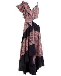 Loewe - Asymmetric Paisley-print Cotton Dress - Lyst