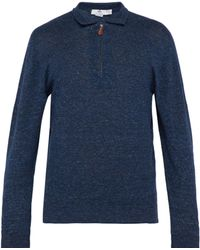 Inis Meáin - Point Collar Cotton And Linen Blend Polo Jumper - Lyst
