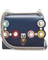 Fendi - Kan I Small Embellished Leather Cross-body Bag - Lyst