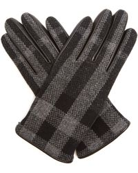 Burberry - Check Wool And Leather Touch Screen Gloves Charcoal - Lyst