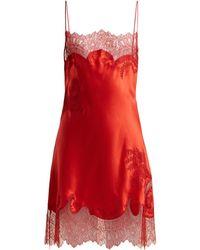 a398d5dc8900 Carine Gilson - Lace Trimmed Silk Satin Slip Dress - Lyst