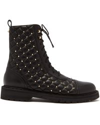 Valentino - Rockstud Spike Quilted Leather Ankle Boots - Lyst