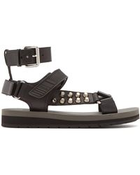 Prada - Stud-embellished Leather Sandals - Lyst
