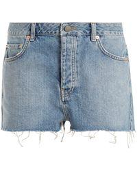 Raey - Hawaii Raw-cut Distressed Denim Shorts - Lyst