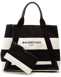 Balenciaga - Stripe Canvas Tote Bag - Lyst