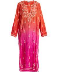 Juliet Dunn   Floral-embroidered Ombré Silk Kaftan   Lyst
