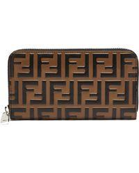Fendi - Logo Embossed Leather Wallet - Lyst