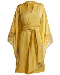 Carine Gilson - Lace-detailed Silk-satin Kimono Robe - Lyst