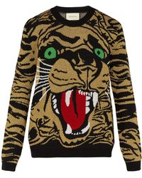 Gucci - Bengal Tiger Intarsia Wool Blend Sweater - Lyst