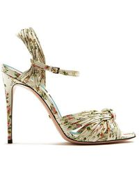 Gucci - Allie Rose-print Leather Sandals - Lyst