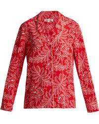 Diane von Furstenberg - Floral Print Silk Crepe De Chine Pyjama Shirt - Lyst