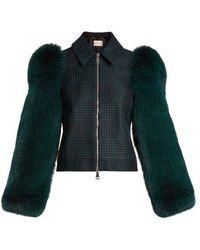 Mary Katrantzou - Lodger Fur-sleeve Tulle And Wool Jacket - Lyst