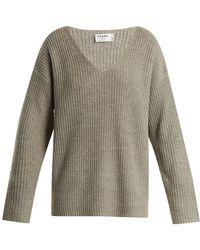 FRAME - Oversized V-neck Ribbed-knit Jumper - Lyst